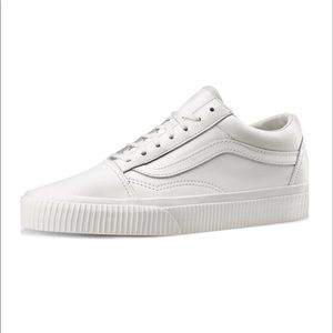 White Leather Low Top Vans